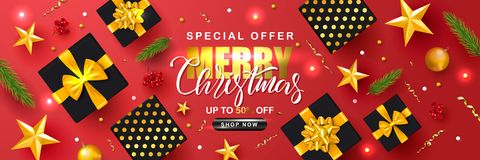 Merry Christmas Sale poster with serpentine, fir branches, gift boxes, Rowan and gold stars. Vector illustration. Design. For invitation, banners, ads, coupons stock illustration