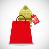 Merry christmas sale with shopping bag. Illustration design vector illustration