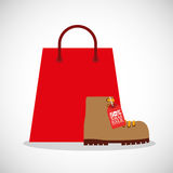 Merry christmas sale with shopping bag. Illustration design royalty free illustration