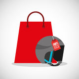 Merry christmas sale with shopping bag. Illustration design stock illustration