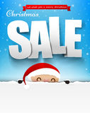 Merry christmas sale text with santa claus vector illustration. Eps10 003 vector illustration