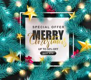 Merry Christmas Sale.Universal vector background with fir branches, Rowan, stars,garland and serpentine. Suitable for promotional. Materials, postcards,posters vector illustration