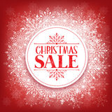 Merry Christmas Sale in Winter Snow Flakes Stock Photos