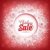 Merry Christmas Sale in Winter Snow Flakes Stock Image