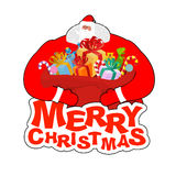 Merry Christmas. Santa Claus and bag and elf helper. New Year bi Stock Images