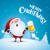 Merry Christmas! Santa Claus with beer. Royalty Free Stock Photo
