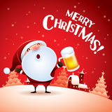 Merry Christmas! Santa Claus with beer. Royalty Free Stock Image