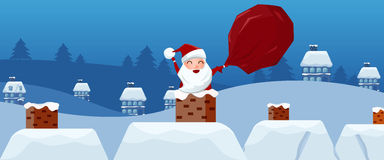 Merry christmas. Santa Claus in the chimney with gift bag in hand on the roof. Christmas and Happy new year banner. Royalty Free Stock Photos