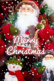 Merry Christmas, Santa Claus in Christmas snow scene and Christm Royalty Free Stock Image