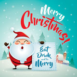 Merry Christmas! Santa Claus in Christmas snow scene. Christmas greeting card. Royalty Free Stock Images