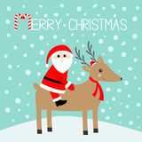 Merry christmas. Santa Claus. Cute cartoon deer with horns, red hat, scarf. Candy cane. Reindeeer head. Snowdrift. Blue winter sno. W background. Greeting card Stock Photos