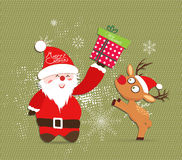 Merry Christmas with Santa claus and deer, gift illustrations Stock Images