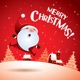 Merry Christmas! Santa Claus feeling excited. Santa Claus jumping up in Christmas snow scene Royalty Free Stock Photography