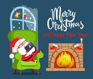 Merry Christmas Claus Relax Vector Illustration. Merry Christmas Santa Claus and fireplace with socks, headline and window decorated with garland and bell Stock Photography