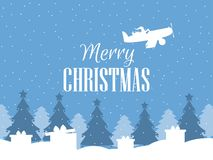 Merry Christmas. Santa Claus flies on an airplane and throws presents. Winter background with falling snow. White contour. Of Christmas trees. Vector Royalty Free Stock Photography