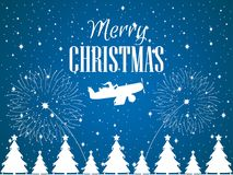 Merry Christmas. Santa Claus flies on an airplane. Winter background with falling snow. White contour. Of Christmas trees. Fireworks launch. Vector illustration Stock Photography