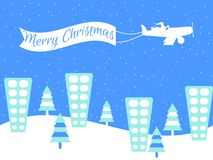 Merry Christmas. Santa Claus is flying on a plane in a snow-capped city. Winter background with falling snow. Vector. Illustration Royalty Free Stock Photography
