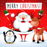 Merry Christmas, Santa Claus and friends in red Stock Images