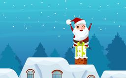 Merry christmas. Santa Claus on gift box in the chimney on the roof. Christmas and Happy new year banner. Cartoon Vector Illustration Royalty Free Stock Images