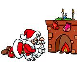 Merry Christmas Santa Claus gifts fireplace. Cartoon illustration isolated image Royalty Free Stock Photography
