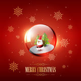 Merry Christmas with Santa Claus in glass sphere bubble and snowflake on red background, vector illustration. Eps10 Stock Photography