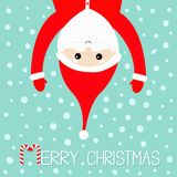 Merry Christmas. Santa Claus hanging upside down. Red hat,. Costume, big beard, hands. Cute cartoon kawaii funny character with open hands. Candy cane. Blue Royalty Free Stock Photos