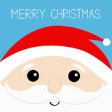 Merry Christmas. Santa Claus head face. Beard, moustaches, white eyebrows, red hat. Cute cartoon kawaii funny father character. Bl Stock Photos