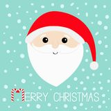 Merry Christmas. Santa Claus head face, big beard, moustaches, white eyebrows, red hat. Candy cane. Cute cartoon kawaii funny char Royalty Free Stock Photos