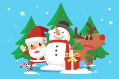 Merry Christmas. Santa Claus and his companions snow man and reindeer. Stock Photos