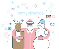 Merry Christmas. Santa Claus and his friends. Deer Rudolph and s Stock Images