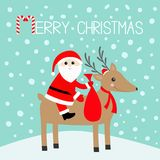 Merry christmas. Santa Claus holding gift bag. Cute cartoon deer horns, red hat, scarf. Candy cane. Reindeeer head. Snowdrift. Blu. E winter snow background Stock Photos
