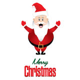 Merry Christmas and Santa Claus isolated on White background card. Holiday background Stock Photo