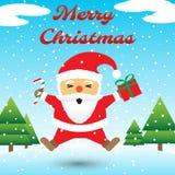 Merry Christmas - Santa Claus Jumping Among Snow Stock Photo