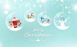 Merry Christmas, Santa Claus and kid with gift, reindeer and sno vector illustration