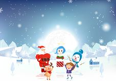 Merry Christmas, Santa Claus, kid, reindeer, snowman and angel w vector illustration