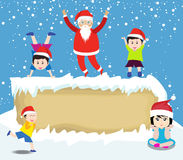 Merry christmas  with Santa Claus and kids Royalty Free Stock Photo