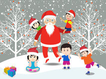 Merry christmas with Santa Claus and kids Stock Photography