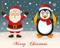 Merry Christmas - Santa Claus & Penguin Royalty Free Stock Images