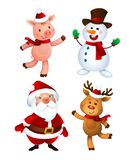 Merry Christmas. Santa Claus, Pig, Snowman and Reindeer. Happy Holiday Mascots Set stock illustration