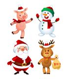 Merry Christmas. Santa Claus, Pig, Snowman and Reindeer. Happy Holiday Mascots Set vector illustration