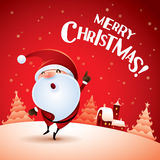 Merry Christmas! Santa Claus point finger up. Stock Photo