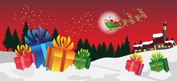 Merry christmas festivity. Merry christmas with santa claus and red background vector illustration