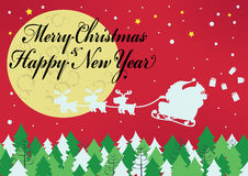 Merry Christmas with santa. Claus and reindeer in big moon background Royalty Free Stock Image