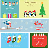 Merry christmas santa claus,reindeer,elf,snowman,penguins,tree,b Royalty Free Stock Images