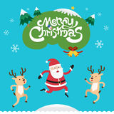 Merry Christmas with Santa Claus and Reindeer Royalty Free Stock Photos