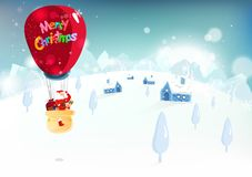 Merry Christmas, Santa Claus and reindeer traveling by big balloon, cute cartoon character fantasy, winter snow falling vector illustration