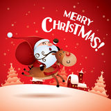 Merry Christmas! Santa Claus riding a Rudolph Reindeer. Stock Photography