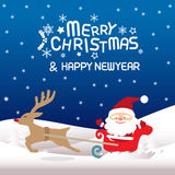 Merry christmas , Santa claus and Rudolph. Merry christmas & Happy New year,vector lettring,  Rudolph, Tree, Santa claus and Rudolph Royalty Free Stock Photography