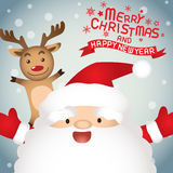 Merry christmas , Santa claus and Rudolph. Merry christmas & Happy New year,vector lettring,  Rudolph, Tree, Santa claus and Rudolph Royalty Free Stock Photos