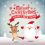 Merry christmas , Santa claus and Rudolph. Merry christmas & Happy New year,vector lettring,  Rudolph, Tree, Santa claus and Rudolph Stock Image